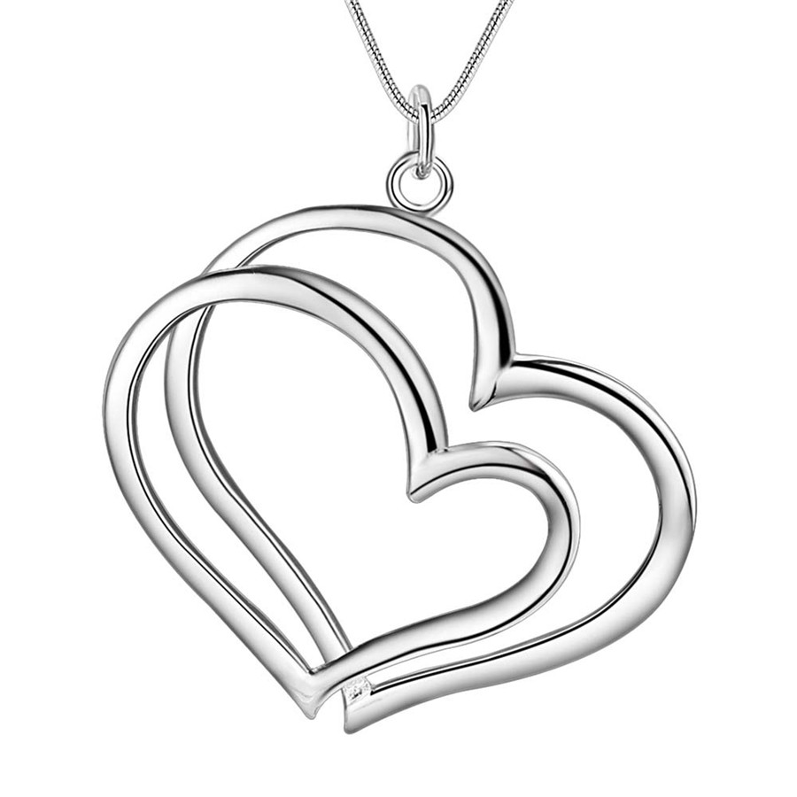 P108 Wholesale Free shipping romantic fashion silver plated jewelry charm women noble heart pendant necklace Kinsle