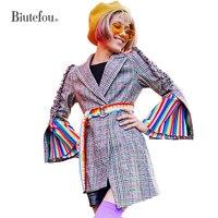 2018 Осень Зубчатый воротник длинные пальто Женская мода лоскутное оборками плед Пиджаки