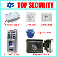 Standalone biometric fingerprint door access control system+power supply+electronic lock +exit button+wrie bell+10pcs RFID key