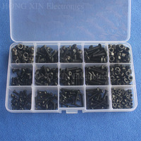 440pcs Iron M3 M4 M5 Hex Socket Button Head Screw Nut Woodworking Screws Fastener For Furniture