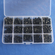 440pcs Iron Screw M3 M4 M5 Hex Socket Button Head Nut Woodworking Screws Fastener For Furniture with Plastic Case screw nut