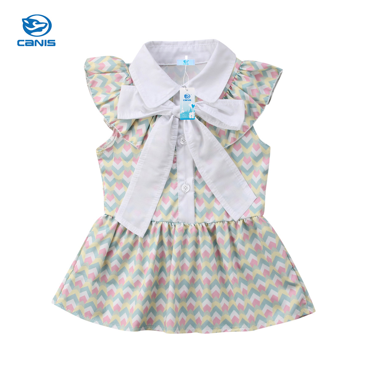 CANIS Lovely Girls Summer Clothe Toddler Kids Baby Girls Floral Bowknot Dress Party Pageant Formal Dress Sundress Clothes