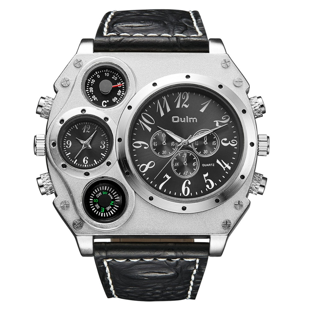 2020 NEW Cool Military Quartz Watch Men Python Grain Leather Strap 2 Time Zone Tonneau Dial Oversize Punk Wrist Watches For Man