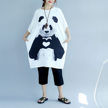 QoerliN Panda Pattern Shirts Dress Women 2019 Spring Summer New Pocket Short Fashion Casual Oversize Female Vestidos