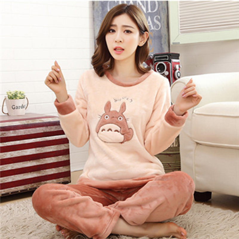 Ladies Women Fleece Winter thicken Long Top Trousers Pyjamas Pajamas letter print Cute Totoro bear 5styles Sleepwear night suits