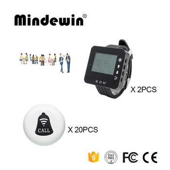 Mindewin Wireless Cafe Pager System 20PCS Table Call Buttons M-K-1 and 2PCS Wrist Watch Pager M-W-1 Restaurant Coaster P