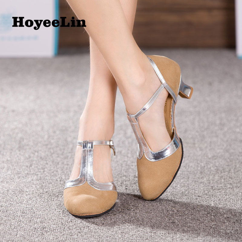 Image 4 - New Women Ladies Ballroom Party Modern Dance Shoes Closed Toe Indoor Suede Sole Waltz Tango Salsa Dancing Heels 3.5/5.5/7cm-in Dance shoes from Sports & Entertainment
