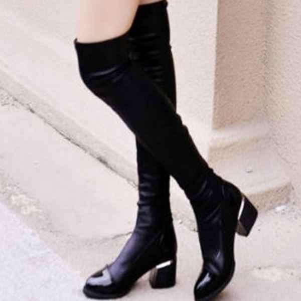 2019 moda kadın rahat Kare topuk Diz çizmeler Ayakkabı kadın Kadın kış sıcak Yüksek Topuklu pompalar elbise Kar çizmeler mujer