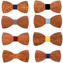 Unique Wood Bow Tie Wooden Ties Mens Novelty Handmade Solid tie For Men Wedding Party Accessories Neck wear