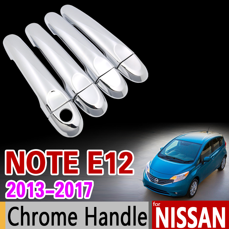 for Nissan Note E12 2013 - 2017 Chrome Door Handle Cover Trim Set for Versa Note 2014 2015 2016 Accessories Stickers Car Styling car auto accessories rear trunk trim tail door trim for subaru xv 2009 2010 2011 2012 2013 2014 abs chrome 1pc per set