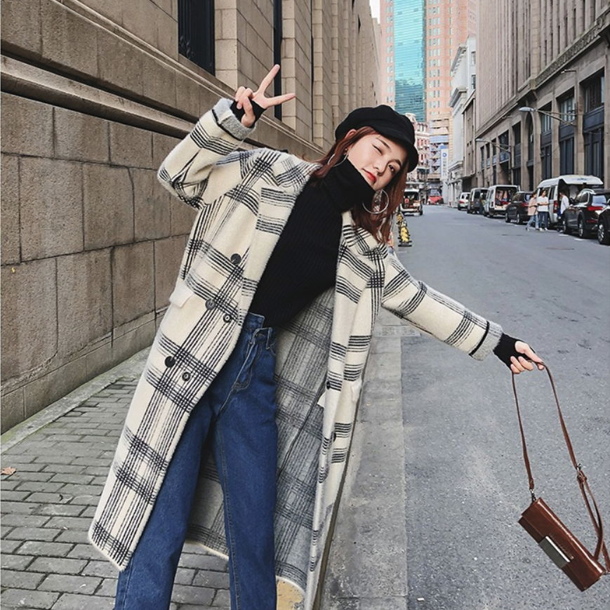 Ample Sweat Longue De D'hiver Capuche À Tissu Nouvelle Femmes Automne Et Pull Marée Écossais Veste Fqn1gnfw