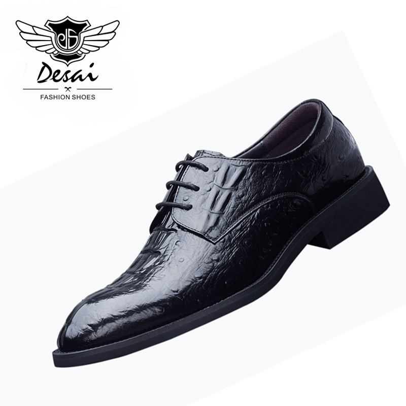 2018 New Crocodile Pattern Geniune Leather Business Dress Mens Shoes British Style Causal Work Shoes Male Pointed Toe Shoes