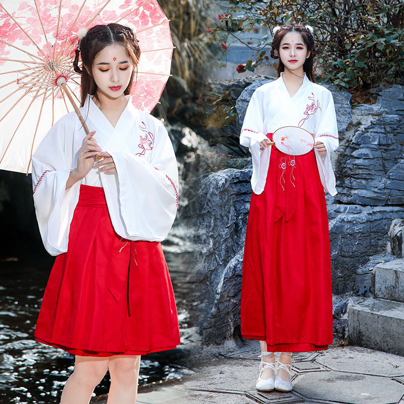 Chinese Style Hanfu Spring And Autumn Daily Adult Female Students Traditional Costume Embroidery Fresh And Elegant Photo Suit