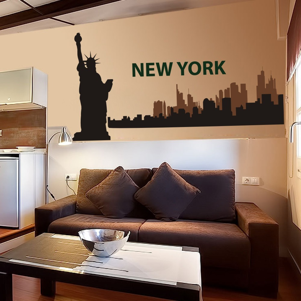 New York City Skyline Silhouette The Big Apple Wall Stickers Vinyl