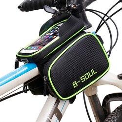 B-SOUL сумка для велосипеда на передней раме, сумка-труба, двуспальная кровать, сумка для мобильного телефона 5,5-6,2 дюймов, Аксессуары для велос...