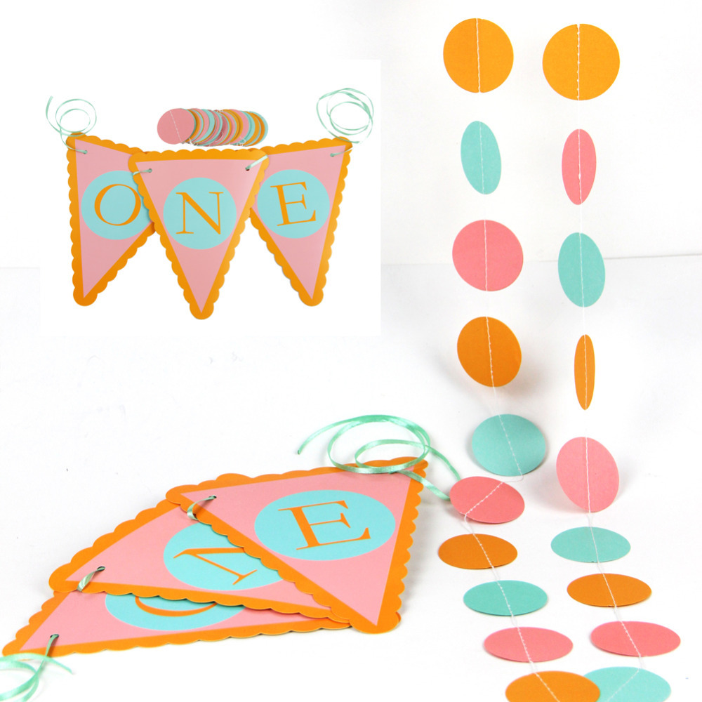 1set Pink&Turquoise First Birthday High Chair Sign Banner with Circle Garland ONE Pennant Flags 1st Birthday Party Decor Shower