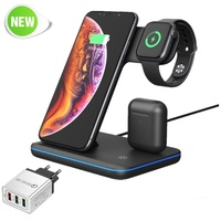New Qi Wireless Charger For Iphone X 8 Xiaomi Samsung Quick Charge 3.0 Fast Charger Dock Station For Apple Airpods Watch 4 3 2 1