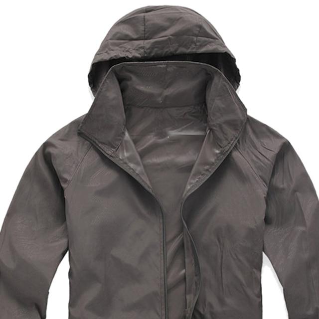 Outdoor Unisex Cycling Running Waterproof Windproof Jacket Rain Coat -Grey