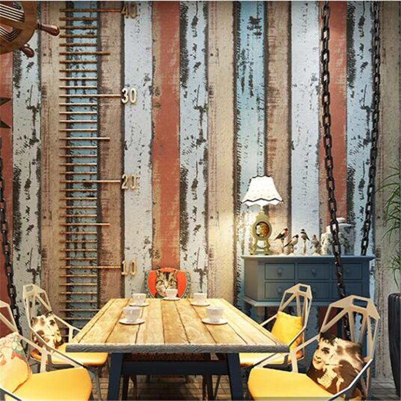 Us 29 02 29 Off Beibehang Wallpaper Old Industrial Wind Like Wood Grain Wallpaper Restaurant Bar Clothing Shop Coffee Shop Background Wallpaper In
