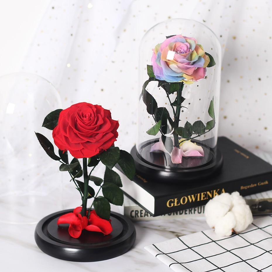 Вечный цветок розы с куполом стекло черная основа Искусственные цветы подарок на день Святого Валентина рождественский подарок украшение дома