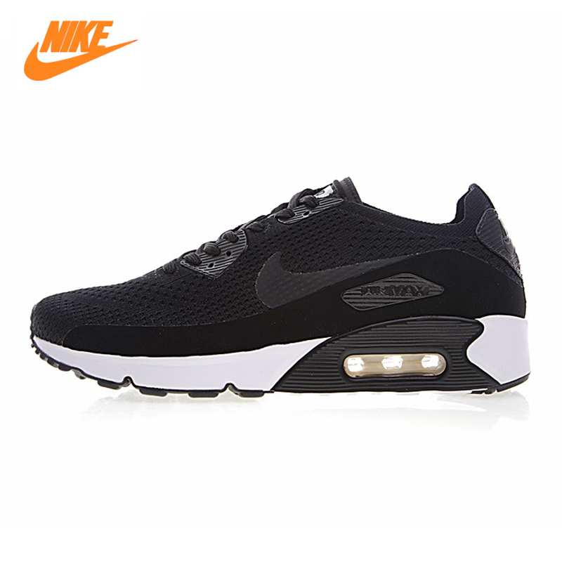 Nike Air Max 90 Ultra 2.0 Flyknit Men's Running Shoes, Black Grey, Breathable Lightweight Non-slip 875943-002 875943 004 original new arrival authentic nike air max 90 ultra 2 0 flyknit men s running shoes breathable lightweight non slip outdoor