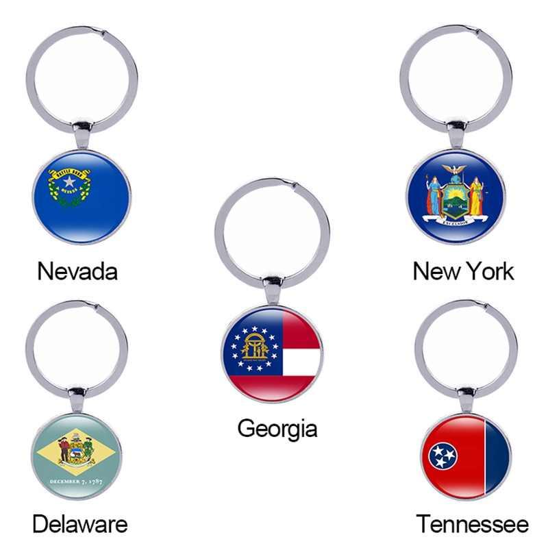 Canuomen llavero de la bandera del Estado de Nueva York Nevada Georgia Delaware América 50 estados de cristal cabujón coche llave accesorios mujer regalo