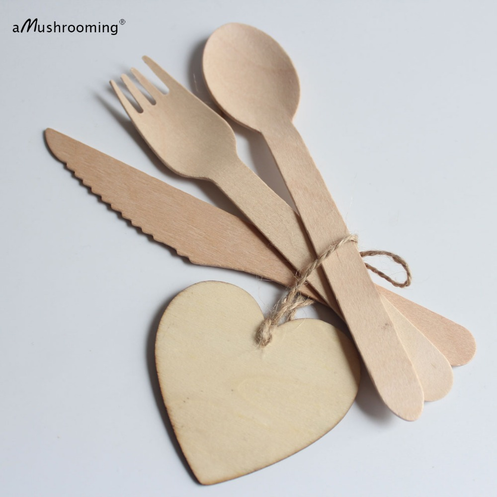 Wooden Eco Friendly Disposable Cutlery 150 Pc Set 50 Forks 50 Spoons 50 Knives Biodegradable Compostable Utensils Knives Knife Cutlery Setcutlery Disposable Aliexpress