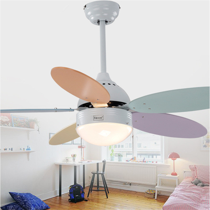 Simple Dinning Room Fan Lights Children Bedroom Fan Lamp LED Home Color Ceiling Fan Light Kindergarten Ceiling Fan Free Shipping 2016 girls dancer clothes sale green and pink dress and girl costume fashion dresses children ready in stock