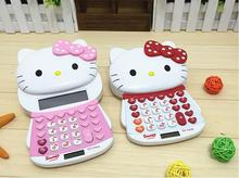 Hello Kitty 12digit Electronic Calculator Push Cover Cute Design Calculator Student Calculadoras Solar/Battery Power Calculating