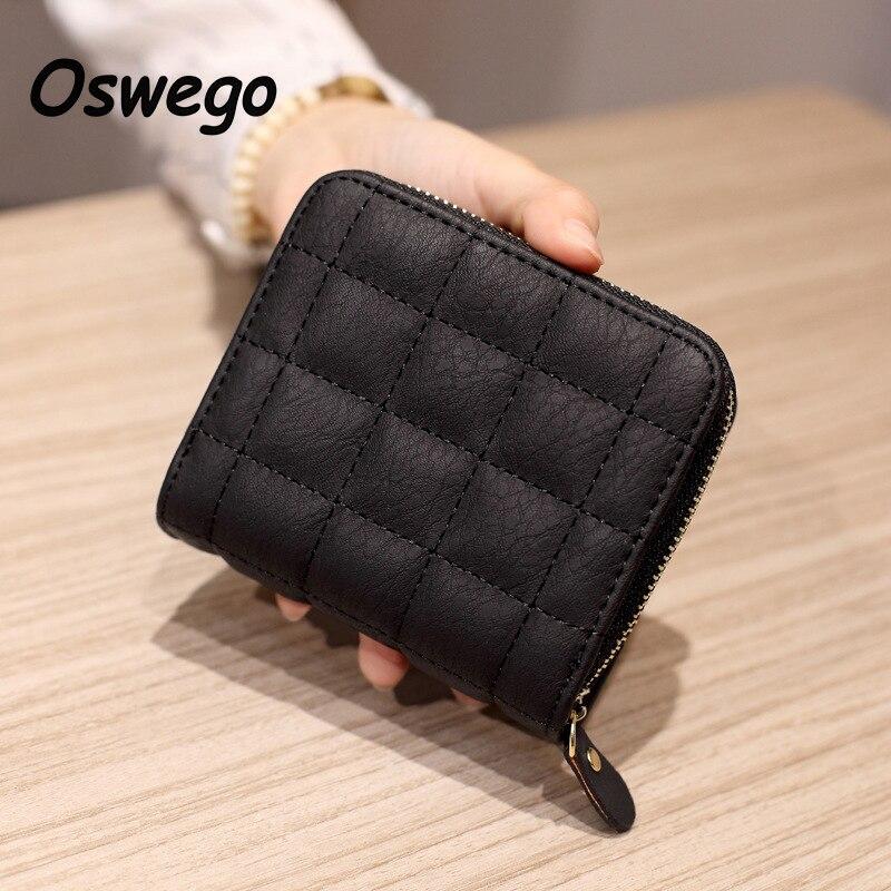 OSWEGO Brand Nubuck PU Leather Women Short Wallet Classics Plaid Thread Style Purse Zipper Money Clutch Card Holders Coin Purse
