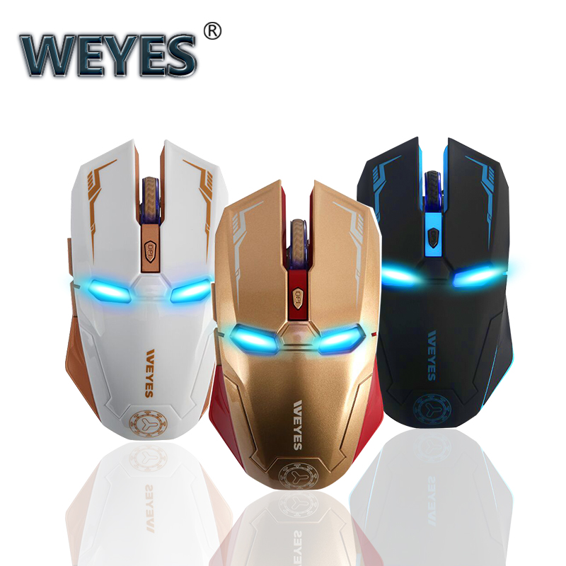 Iron Man Wireless Gaming Mouse 2.4G WithWEYES USB Nano Receiver For Laptop,Computer, Macbook,Notebook,3 DPI Adjustment Levels