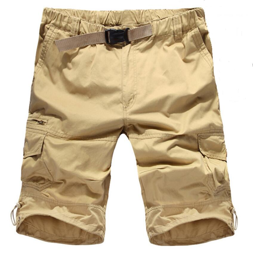 Big Size Shorts Men 2017 Summer Cargo Men Short Pants High Quality Loose Cotton Casual Short Men Khaki Army Green Beach Shorts