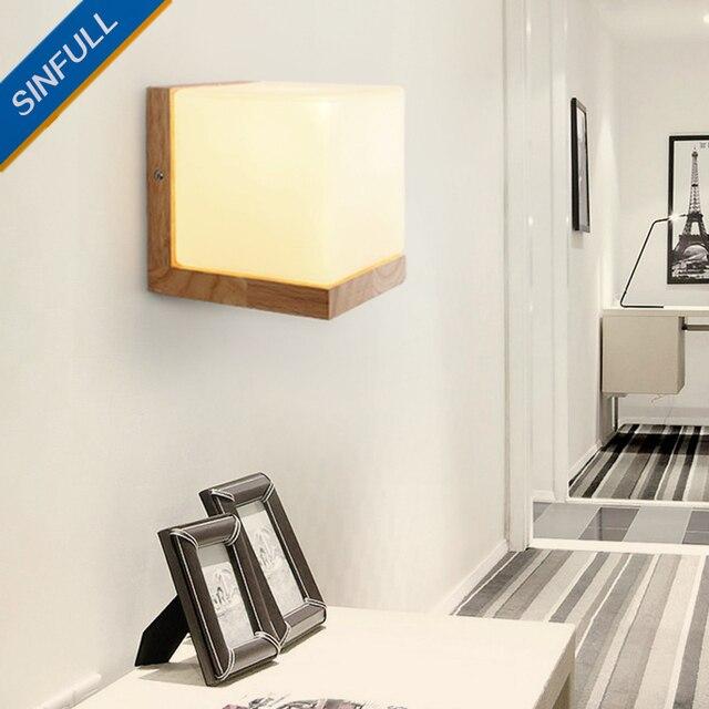 Style Japonais Chambre Murale En Bois Massif Mur Lampe Couloir Salon