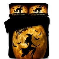 Halloween Duvet Cover Set Happy Halloween Poster Design Witch on Broom Mushroom Dead Resurgence Vintage 3/4 Piece Bedding Sets