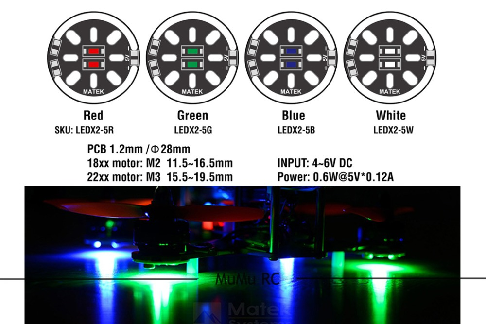 2pcs 4 colors Matek Round 1806 2204 2206 Motor Mount Led Light Board 5V for FPV QAV180 ZMR180 QAV250 ROBOCAT 270 quadcopter 1pcs lightweight matek rgb led circle board 7 colors x8 16v for fpv rc multicopter