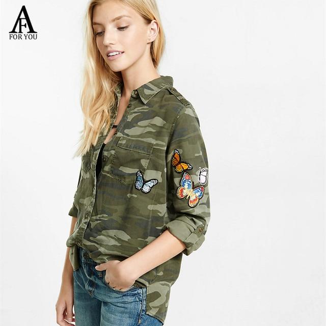 Vintage Chemise 2017 Camouflage Femmes Coton Appliques Papillon Zmupsvq zMqSVUp