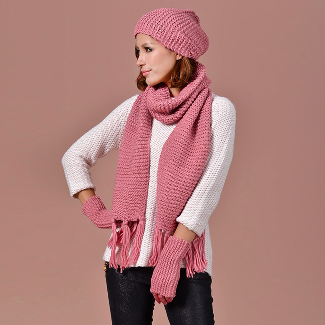 Autumn Winter Hat Scarf Gloves Set Knit Hat Gloves Scarves ...