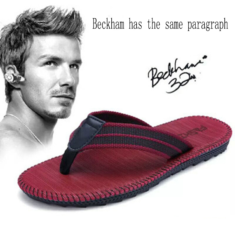 Summer Couple Flip-flops Men And Women Beckham With The Same Paragraph Beach Slippers Men's Sandals Clip Toe Drag Men's Shoes