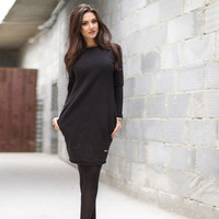 Women Bottom Warm Dress Female Summer And Autumn Fashion Loose Mini Dress Sexy Black Color Long