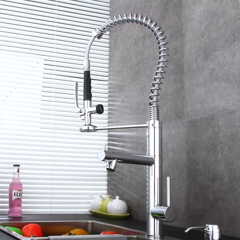 Brass chromed pull down kitchen faucet luxury dual handle kitchen mixer deck mounted sink mixer tap BR-8005C цена и фото