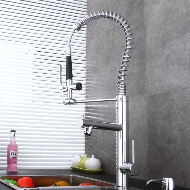 Br Chromed Pull Down Kitchen Faucet Luxury Dual Handle Mixer Deck Mounted Sink Tap