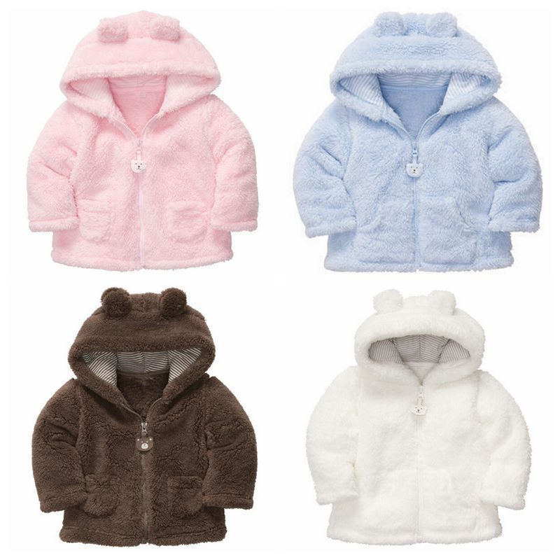 Hot Newborn Clothing Boys Girls Fall / Winter Baby Fashion Coats Baby Hoodies Thick Fleece Tops Outwear For 0-2 Years Kids