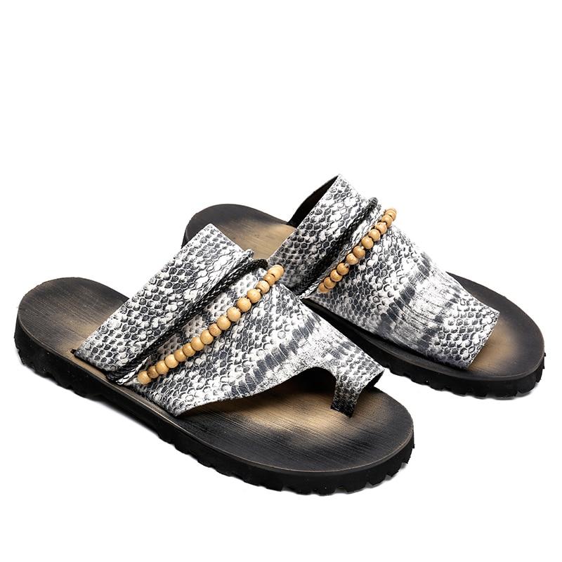 9d057f42e081fd Hommes Grand 46 Perle Chaussures Plage Bohème Taille En Sandales Top Homber  Élégant Pantoufles Diapositives Cuir ...