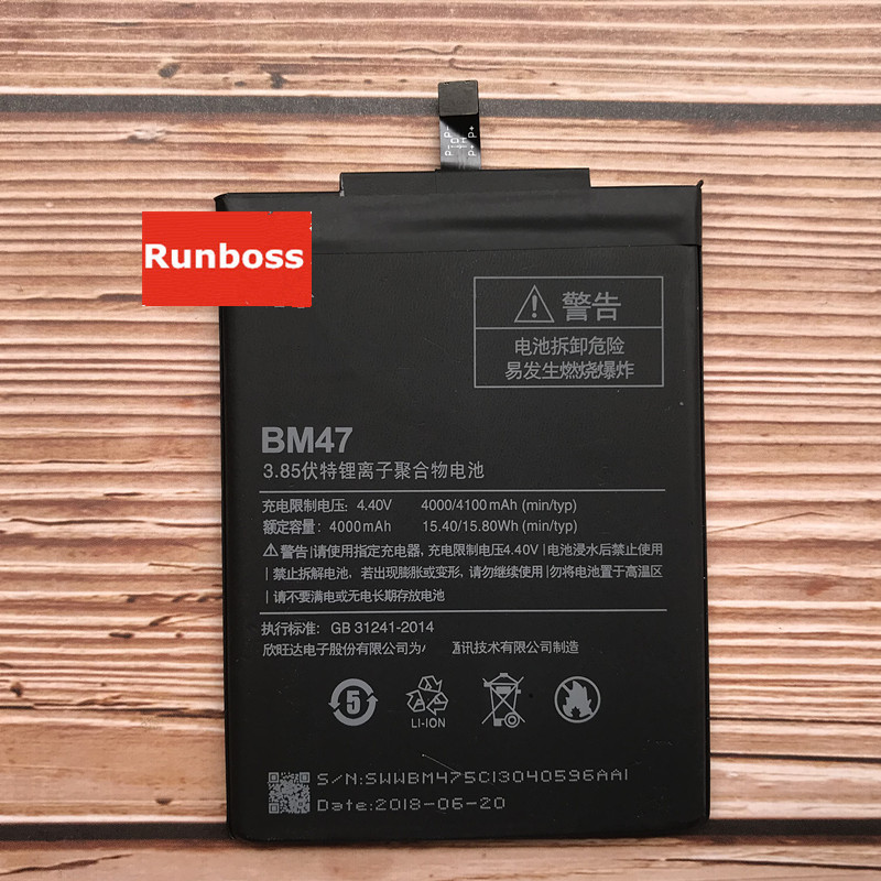 BM47 Full Capacity 4000mAh <font><b>Battery</b></font> For Xiaomi Redmi 3 3S 3X Xiao <font><b>mi</b></font> Hongmi Redmi <font><b>4x</b></font> <font><b>Batteries</b></font> image