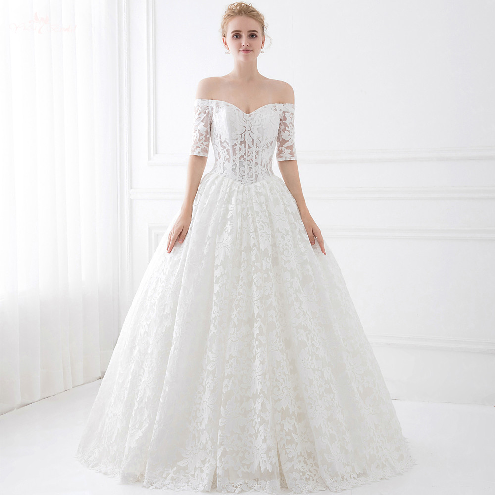 LZ193 Special Lace Pattern Off Shoulder Illusion Bone Lace Up Half Sleeve Wedding Ball Gowns