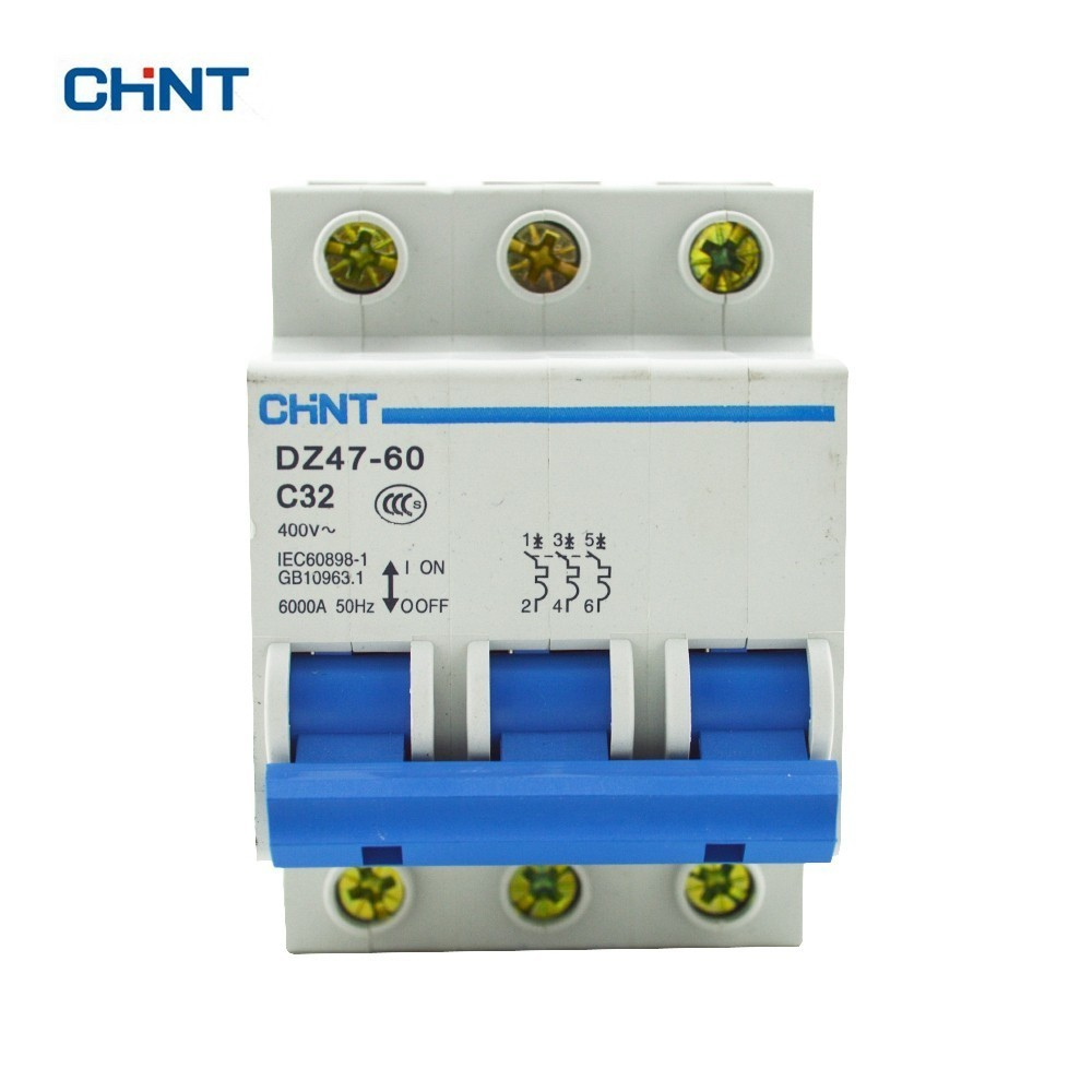 CHINT DZ47-60 C32 AC230/400V 3P 32A Rated Current 3 Pole Miniature Circuit Breaker