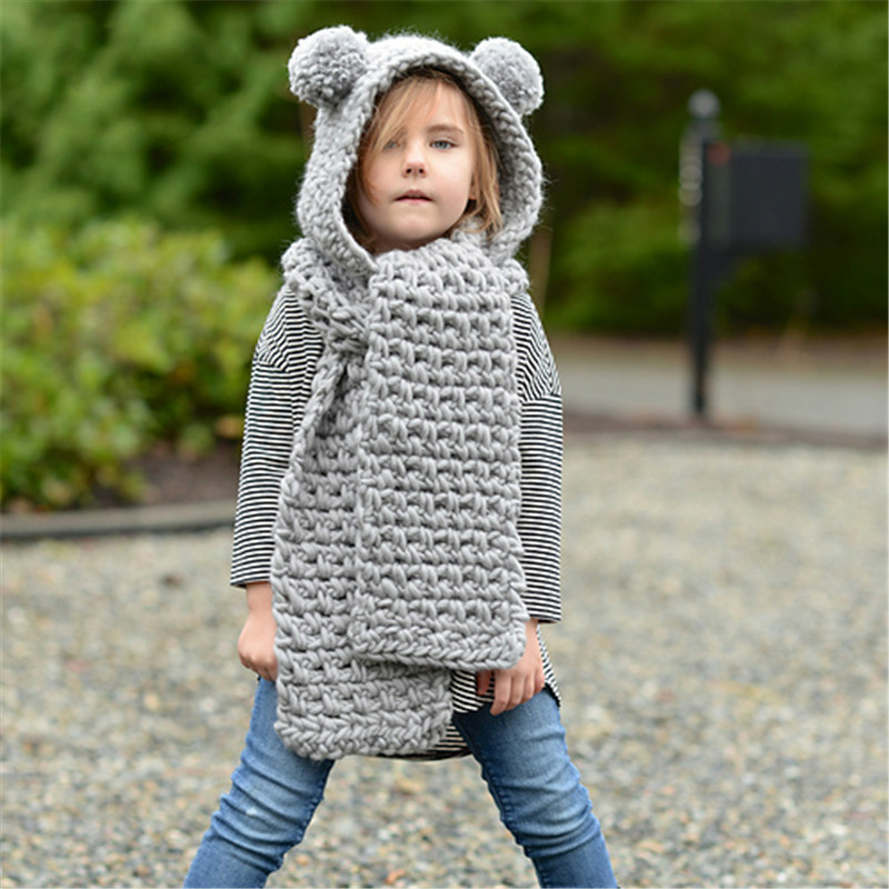 3 10yrs Girls Unicorn Hooded Scarf Hand Made Kid Winter