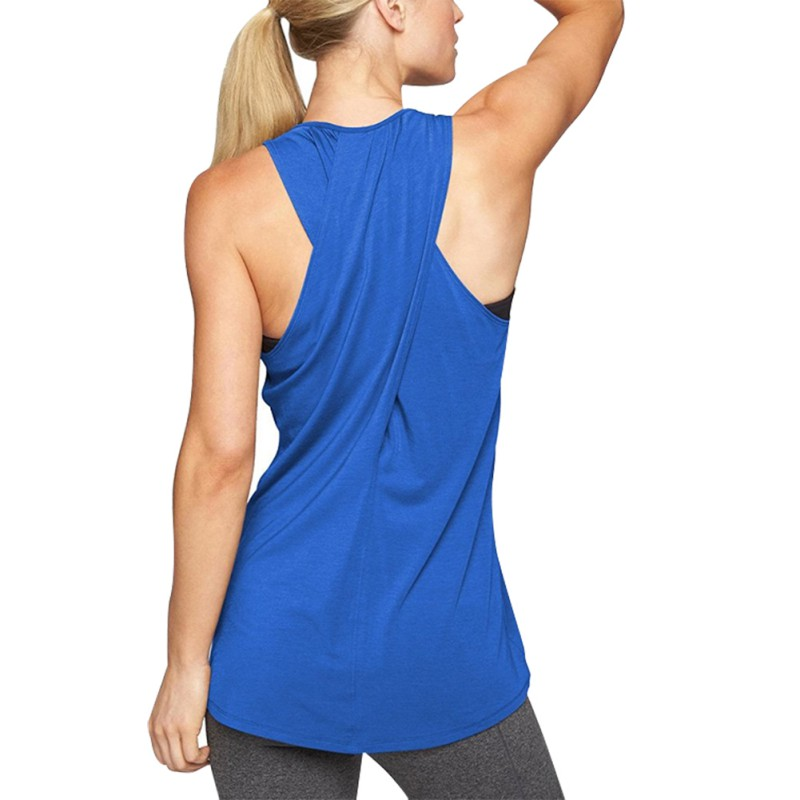 Women Casual Cross Back Solid Color   Tank   Shirt Comfortable Sporting Activewear Workout Clothes Racerback   Tank     Tops