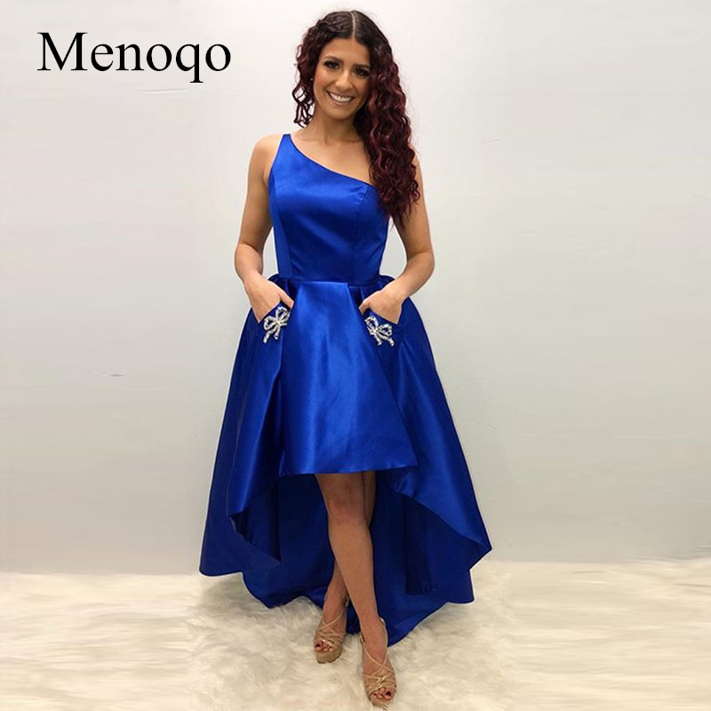High Low Royal Blue Evening Dress 2019 One Shoulder Short Front Long Back Beaded Evening Party Gown With Pockets