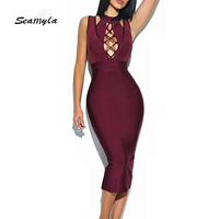 Seamyla 2017 New Fashion Bandage Dress Celebrity Party Dresses Women Sleeveless Bodycon Vestidos Sexy Hollow Out Club Dress